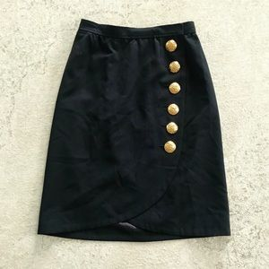 YVES SAINT LAURENT Black Tulip Skirt Gold Buttons